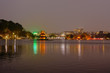 Night view of Turtle Tower or Tortoise tower which is located in the middle of the Hoan Kiem Lake, Hanoi, Vietnam