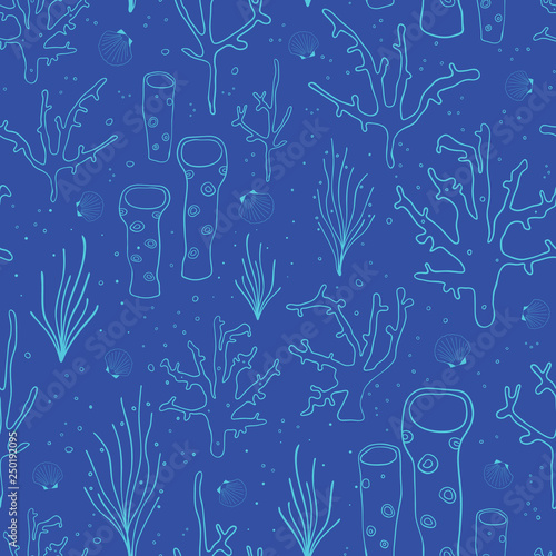 Coral reef Blue seamless vector background. Underwater pattern with corals, sea plants, seaweed, sponge, clams, shells. Hand drawn subtle marine doodle backdrop. For fabric, digital paper, web decor.