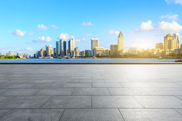 Empty square floor and Shanghai Bund commercial building