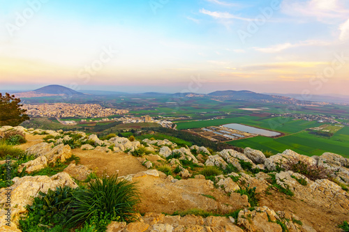 Vászonkép Sunset view of the Jezreel Valley and Mont Tabor