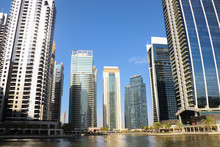 Scenic View With Skyscrapers Of The Jumeirah Lakes Towers, Dubai Skyline, UAE