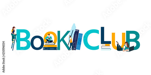 Fotografie, Obraz  Vector logo concept of a book club with people reading.