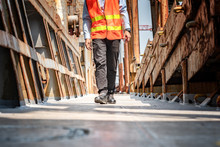 Legs Of Engineering, Technician Or Worker Walking On Deck Steel In The Work Place, Safety Walks, Mind Step Avoid Accident Happening