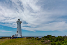 Point Stephens Lighthouse Powered By Solar Panels On Bright Summer Day. Fingal Bay, New South Wales, Australia