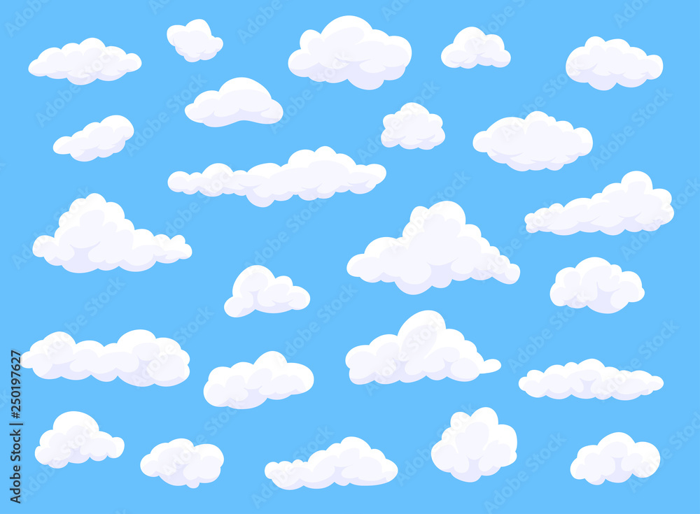 Fototapeta Different shape cartoon white clouds on blue background. Vector decoration element.