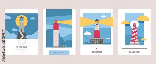 Obraz Lighthouse vector beacon lighter beaming path of lighting from seaside coast illustration set of lighthouses isolated on background - fototapety do salonu