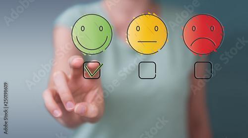 Staande foto Wanddecoratie met eigen foto Businesswoman using thin line customer satisfaction rating