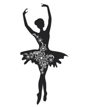 Ballerina With Flowers. Silhouette Of A Beautiful Female Ballet Dancer