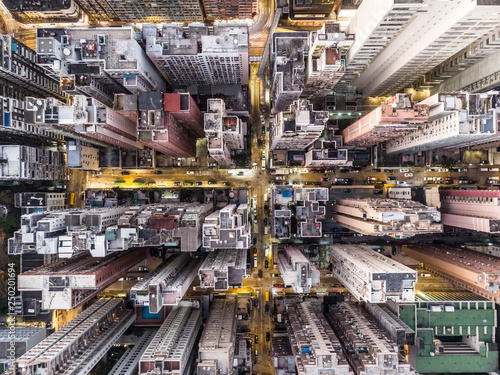 Valokuva  Top down view of the very densly populated North Point district in Hong Kong
