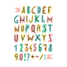 Set Of Cute Letters, Numbers A...