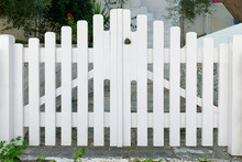 Front View Of White Wooden Gates