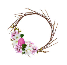 Round Wreath From Dry Twigs Wi...