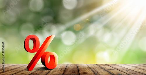 Photo  Prozentzeichen auf einem Brett Hintergrund mit Sonnenschein und bokeh