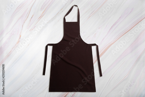Fototapety, obrazy: Blank apron on natural marble texture. Kitchen apron on marble background. Top view. Flat lay