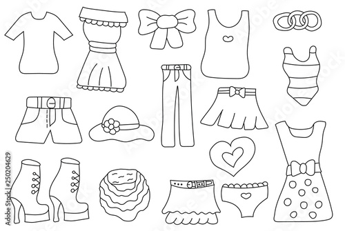 Woman Fashion Cloths Set Of Icons And Objects Hand Drawn