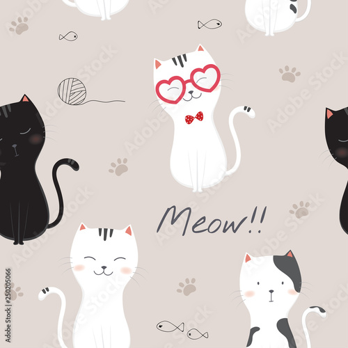 obraz lub plakat Seamless pattern with cute cartoon cats.