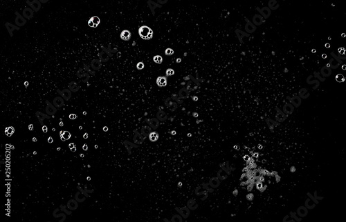 Fotografie, Tablou  Soap foam, lather isolated on black, with clipping path, texture and background,