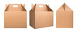 canvas print picture - Collection of cardboard boxes isolated on white background. Set of brown cardboard boxes. Delivery concept