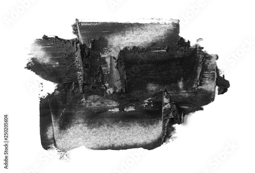 Black oil brush strokes, paint isolated on white background