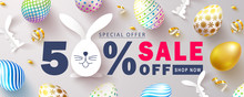 Happy Easter Sale Banner.Beautiful Background With Colorful Eggs, Paper Bunnies And Golden Serpentine. Vector Illustration For Website , Posters,ads, Coupons, Promotional Material
