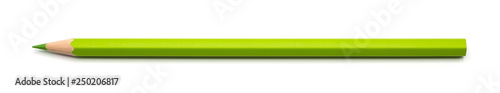 Photo  green pencil single isolated on white background with clipping path