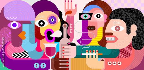 Fotobehang Abstractie Art Friends Drinking Wine vector illustration