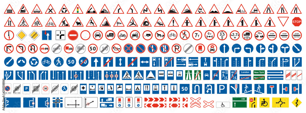 Fototapeta Highway warning, priority, prohibitory signs collection. Set of more than two hundred road signs.