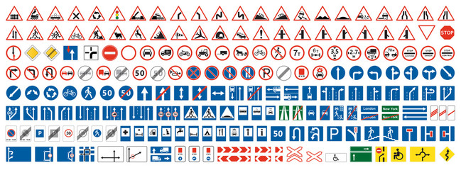 Highway warning, priority, prohibitory signs collection. Set of more than two...