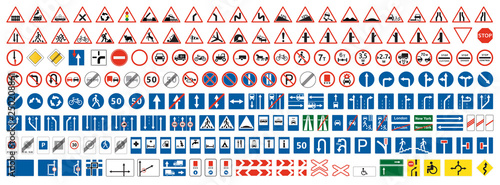 Obraz Highway warning, priority, prohibitory signs collection. Set of more than two hundred road signs. - fototapety do salonu