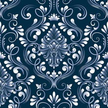 Vector Blue Damask Seamless Pattern Element. Classical Luxury Old Fashioned Damask Ornament, Royal Victorian Seamless Texture For Wallpapers, Textile, Wrapping. Exquisite Floral Baroque Template.