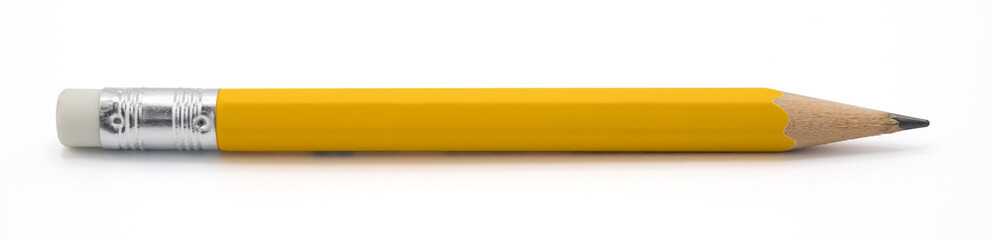 yellow pencil isoalted on white background with clipping path.