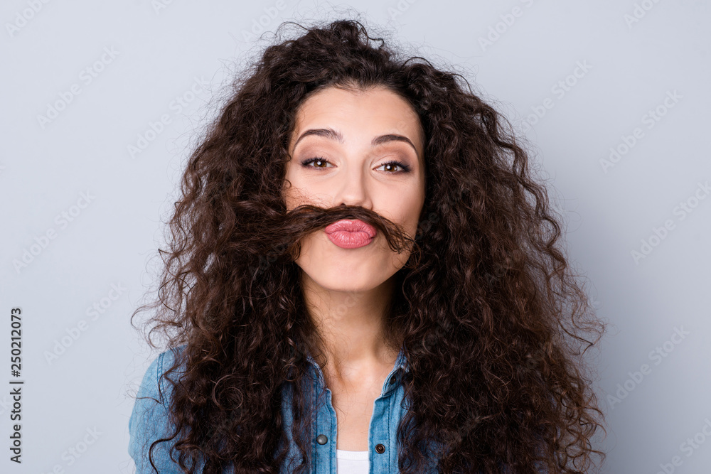 Fototapety, obrazy: Close up photo amazing attractive glad her she lady overjoyed curl make whisker act like man guy he him his wearing casual jeans denim shirt clothes outfit isolated grey background
