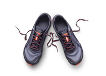 Top View Of Gray And Orange Trainers Isolated On A White Background.