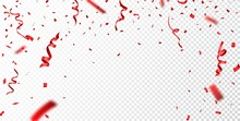 Red Confetti , Isolated On Tra...