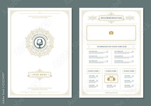 Fotografía  Restaurant menu design and label vector brochure template.