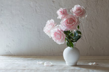 Pink Roses In Vase On White Background