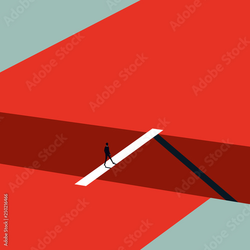 Business challenge vector concept in minimalist art style. Businessman walking over bridge. Symbol of ambition, leadership, finding solution. Wall mural