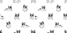 Dog Seamless Pattern French Bulldog Breed Bone Scarf Isolated Paw Breed Repeat Wallpaper Tile Background Illustration Doodle Black