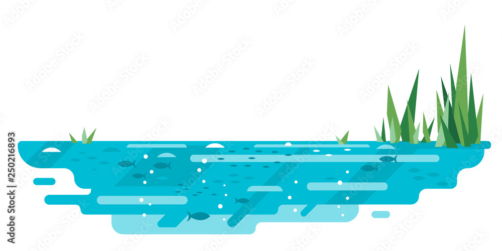 Fototapety, obrazy: Small blue decorative pond with bulrush plants and fishes in flat style isolated on white, lake in section nature landscape fishing place