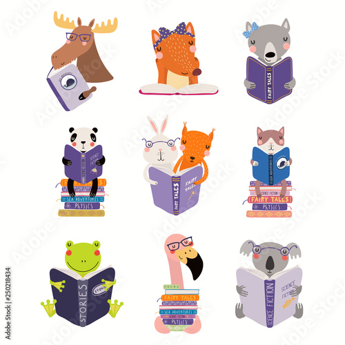 In de dag Illustraties Big set with cute animals reading different books. Isolated objects on white background. Hand drawn vector illustration. Scandinavian style flat design. Concept for children print, learning.
