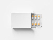 Package Blister With Round Medicines Pills On White Background. Mock Up Template. 3d Render Illustration