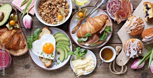 Breakfast food table Canvas Print