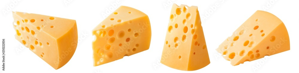 Fototapeta Set of triangular cheese pieces isolated on white background