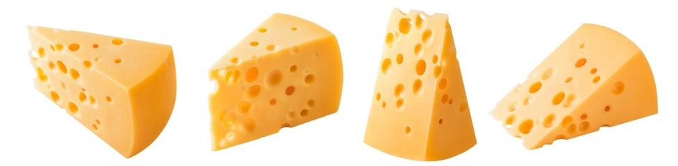 Zestaw trójkątne kawałki sera na białym tle