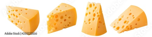 Foto Set of triangular cheese pieces isolated on white background