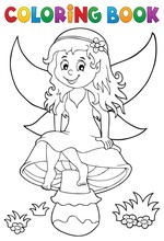 Coloring Book Fairy Sitting On...
