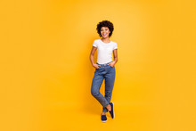 Full Length Body Size Photo Beautiful Amazing She Her Dark Skin Lady Lovely Look Self-confident Optimistic Nice Cool Wear Casual White T-shirt Isolated Yellow Bright Vibrant Vivid Background