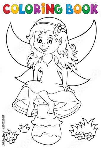 Coloring book fairy sitting on mushroom