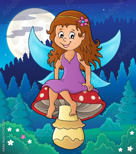 Fairy sitting on mushroom theme 3