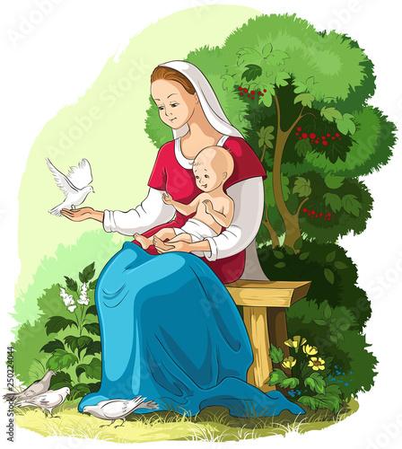 Carta da parati Mother Mary holding baby Jesus vector cartoon christian illustration